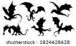 dragon silhouettes on white... | Shutterstock .eps vector #1824628628