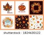 autumn cards. set. happy...   Shutterstock .eps vector #1824630122