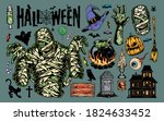vintage halloween elements... | Shutterstock .eps vector #1824633452