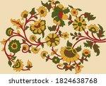 flower motif pattern with cream ...   Shutterstock .eps vector #1824638768