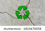 Recycling Icon On A Cracked...