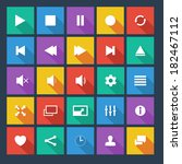 media player flat  icons with...