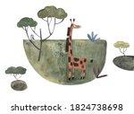 Watercolor Giraffe Hand Drawn...