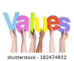Small photo of Diverse Hands Holding The Word Values