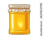 glass jar with honey packaging...   Shutterstock .eps vector #1824822998