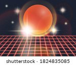 retro 80s futuristic deep space ... | Shutterstock .eps vector #1824835085