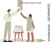 people make repairs when the...   Shutterstock .eps vector #1824864032