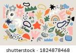 set of trendy doodle and... | Shutterstock .eps vector #1824878468