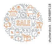 vector icons of sale in circle... | Shutterstock .eps vector #1824889118