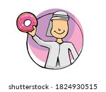 arab holding a donut on a white ... | Shutterstock .eps vector #1824930515