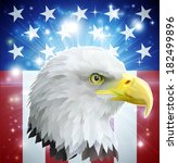 American bald eagle in front of the American flag  - stock vector