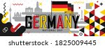national day of germany or...   Shutterstock .eps vector #1825009445