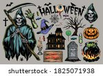 halloween vintage elements set... | Shutterstock .eps vector #1825071938