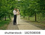 happy bride and groom walking... | Shutterstock . vector #182508008
