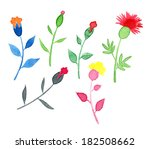 set of multicolored watercolor... | Shutterstock . vector #182508662