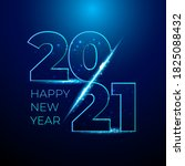 happy 2021 new year blue number ... | Shutterstock .eps vector #1825088432