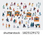 winter tiny people big vector... | Shutterstock .eps vector #1825129172