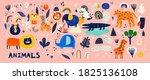 baby animals pattern. fabric... | Shutterstock .eps vector #1825136108