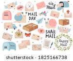 mail and post icon set with... | Shutterstock .eps vector #1825166738