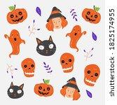 halloween pattern background.... | Shutterstock .eps vector #1825174955