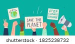 people protesting against... | Shutterstock .eps vector #1825238732