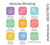 remote work icon set w work...   Shutterstock .eps vector #1825275872