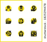 environment icons set with...