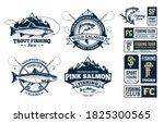 vector fishing logo and... | Shutterstock .eps vector #1825300565
