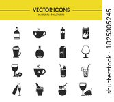 beverages icons set with tea ...