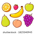 cute cartoon fruit doodle set.... | Shutterstock . vector #1825340945