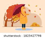 Vector Autumn Concept. A Girl...