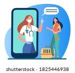 veterinarian on smartphone... | Shutterstock .eps vector #1825446938