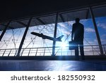 business man silhouette in the... | Shutterstock . vector #182550932