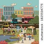 cartoon people in a green park. ... | Shutterstock .eps vector #1825534775