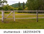 Wooden Fence Around Horse Ranch