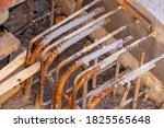 Rusty Steel Metal Rebars Used...