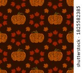 a pattern of pumpkins and maple ... | Shutterstock .eps vector #1825582385