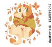 fat cat in a warm autumn... | Shutterstock . vector #1825595042