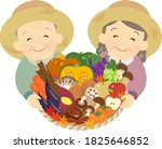 an old couple in a straw hat... | Shutterstock .eps vector #1825646852