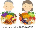 old couple with autumn... | Shutterstock .eps vector #1825646858