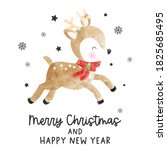 Christmas Card With Watercolor...