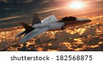 F22 Fighter Jet At Sunset   An...