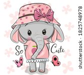 cute cartoon elephant girl in a ... | Shutterstock .eps vector #1825748978