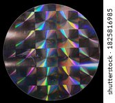 Small photo of macro top shot photo of holographic foil sticker with cool grid pattern texture, holo sticker on real paper sheet isolated on black background with nice light reflections and scratches.