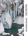 Frozen waterfalls on Plvice lakes national park, Croatia - stock photo