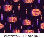 spooky pumpkins and candles... | Shutterstock .eps vector #1825864028