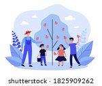 man and kids picking apples in... | Shutterstock .eps vector #1825909262