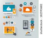 flat design set for marketing | Shutterstock .eps vector #182593682