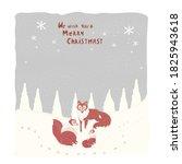 vector winter postcard.red fox...   Shutterstock .eps vector #1825943618