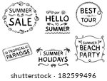 hand drawn summer design... | Shutterstock .eps vector #182599496